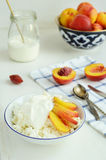 Cottage cheese, fresh nectarines and sour cream stock images