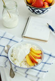 Cottage cheese, fresh nectarines and sour cream stock photos