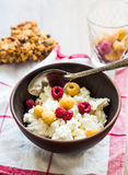 Cottage cheese with fresh raspberries in a clay plate, granola b. Ars, healthy food Stock Photography