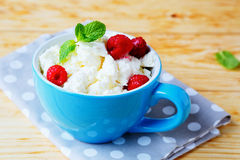 Cottage cheese with fresh raspberries. Food closeup Stock Photography
