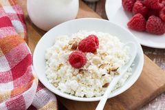 Cottage cheese with fresh raspberry, top view. Horizontal Stock Photo