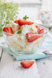Cottage cheese with fresh strawberries Stock Photos