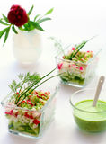Cottage cheese and fresh vegetables Stock Photos