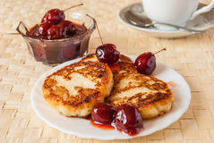 Cottage cheese fritters Royalty Free Stock Photography
