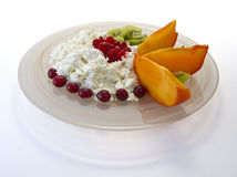 Cottage cheese with fruit Royalty Free Stock Photo
