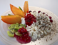 Cottage cheese with fruit Stock Images