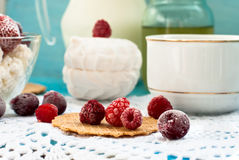 Cottage cheese with fruit Stock Photo