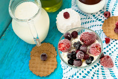 Cottage cheese with fruit Royalty Free Stock Photos