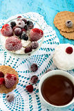 Cottage cheese with fruit Royalty Free Stock Image
