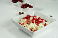 Cottage cheese with fruit pomegranate. On a white background Royalty Free Stock Photo
