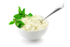 Cottage cheese with garnish Royalty Free Stock Images