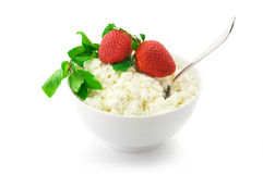 Cottage cheese with garnish Stock Images