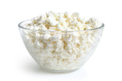 Cottage cheese in glass bowl Royalty Free Stock Images