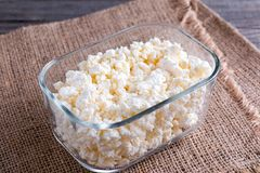 Cottage Cheese In A Glass Container Royalty Free Stock Photography