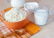 Cottage cheese, glass of milk and sour cream Stock Photography
