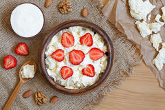 Cottage cheese healthy breakfast food with sour Stock Image