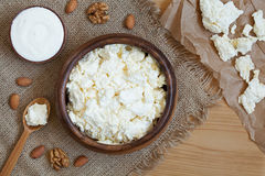 Cottage cheese healthy protein breakfast with sour Stock Images