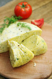 Cottage cheese with herbs Stock Images