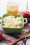 Cottage cheese with honey and apple. Stock Photos