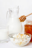 The cottage cheese with honey and milk Royalty Free Stock Photography