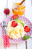 Cottage cheese with honey Stock Photos