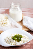 Cottage cheese and jam. On the table Royalty Free Stock Photos