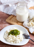 Cottage cheese with jam Royalty Free Stock Photography