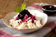 Cottage cheese with jam Stock Photo