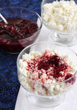 Cottage cheese with jam. For breakfast stock photography
