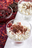 Cottage cheese with jam and chocolate. For breakfast stock photography