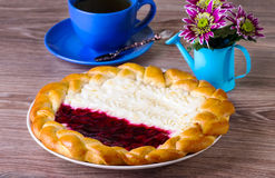 Cottage cheese and jam pie Stock Photography