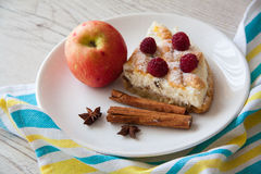 Cottage cheese kisch with apple Stock Photos