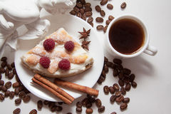 Cottage cheese kisch and coffee beans Royalty Free Stock Photography