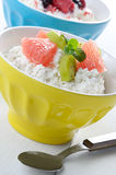 Cottage cheese with kiwi and grapefruit Royalty Free Stock Photography