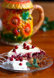 Cottage cheese lingonberry pie with vanilla creame. Lingonberry with quark, curd cheese;lingonberry leaf, tea Stock Photos