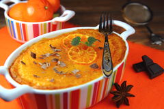 Cottage cheese-Mandarin pudding stock photos