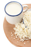 Cottage cheese and milk for breakfast Stock Photos