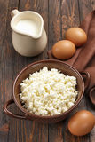 Cottage cheese, milk and eggs Royalty Free Stock Images