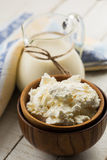 Cottage cheese, milk. Royalty Free Stock Photo