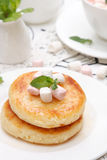 Cottage cheese pancake Royalty Free Stock Photo