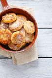 Cottage cheese pancake in pan Stock Photo