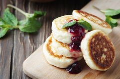 Cottage cheese pancake with raspberry and mint Stock Photo