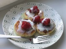 COTTAGE CHEESE PANCAKE WITH RASPBERRY Stock Image