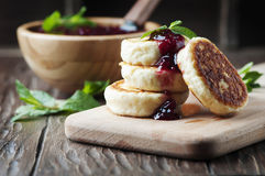 Cottage cheese pancake with raspberry Royalty Free Stock Photo