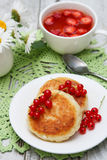 Cottage cheese pancake Royalty Free Stock Images