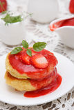 Cottage cheese pancake with strawberry Stock Images