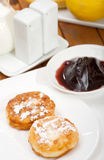 Cottage cheese pancakes. With jam royalty free stock photos