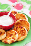 Cottage cheese pancakes Royalty Free Stock Photos