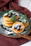 Cottage cheese pancakes with berries Stock Image