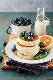 Cottage cheese pancakes with blueberries Royalty Free Stock Photography